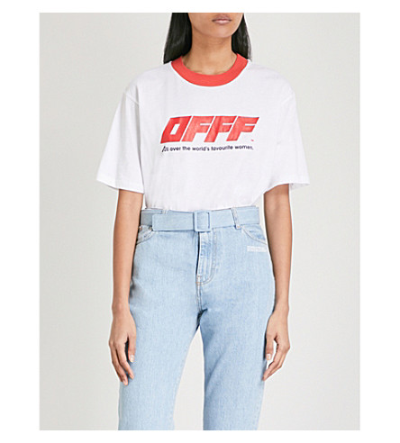 OFF-WHITE C/O VIRGIL ABLOH Text-print cotton-jersey T-shirt (White