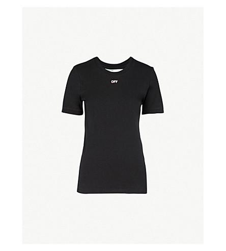 OFF-WHITE C/O VIRGIL ABLOH Strass-embellished cotton T-shirt (Black+light