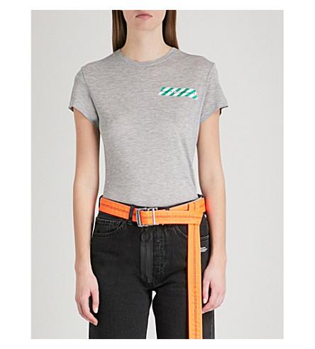 OFF-WHITE C/O VIRGIL ABLOH Tape-print jersey T-shirt (Melange+grey
