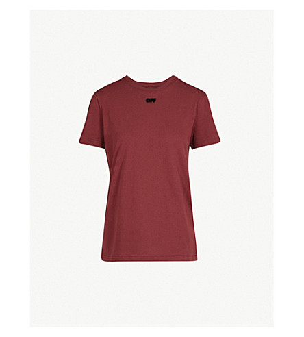 OFF-WHITE C/O VIRGIL ABLOH 箭蜂拥平纹针织棉 T 恤 (Bordeaux