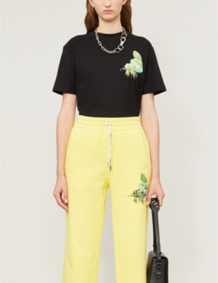 Graphic-print stretch-cotton-jersey T-shirt