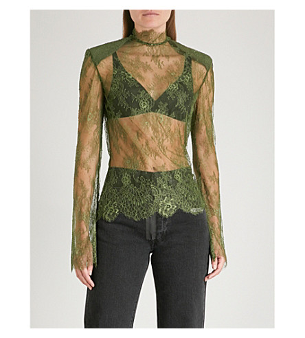OFF-WHITE C/O VIRGIL ABLOH Semi-sheer lace top (Military+green