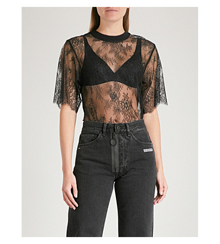 OFF-WHITE C/O VIRGIL ABLOH Semi-sheer floral-lace T-shirt (Black