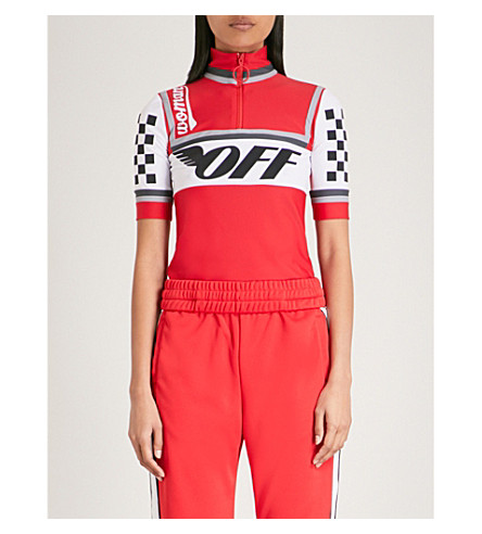 OFF-WHITE C/O VIRGIL ABLOH Logo-print stretch cycling top (Red