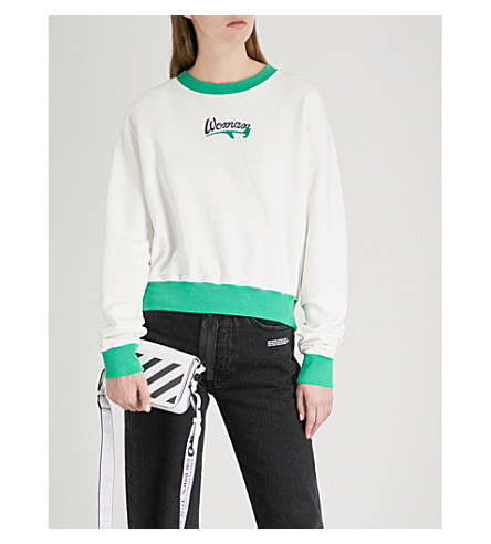 OFF-WHITE C/O VIRGIL ABLOH Woman embroidered-detail cotton-jersey sweatshirt (White+green