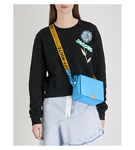 OFF-WHITE C/O VIRGIL ABLOH Flower tape-print cropped cotton-jersey sweatshirt (Black+multico