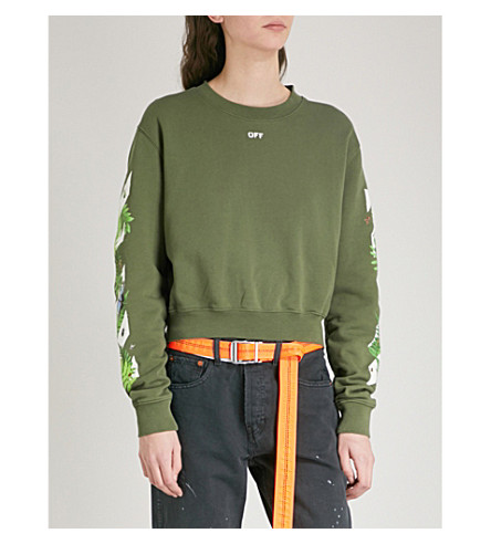 OFF-WHITE C/O VIRGIL ABLOH Fern printed cotton-jersey sweatshirt (Military+green