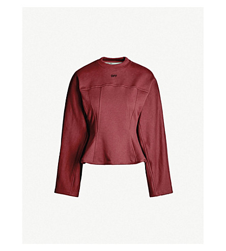 OFF-WHITE C/O VIRGIL ABLOH 喇叭平纹针织棉卫衣 (Bordeaux