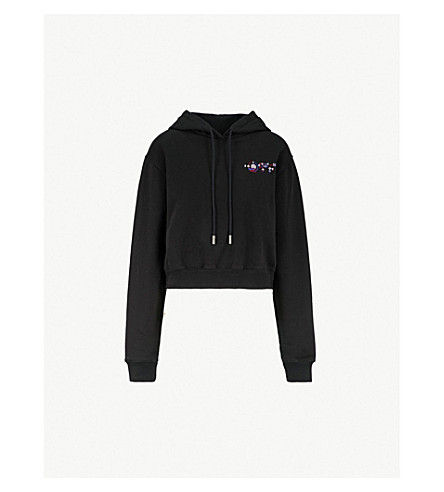OFF-WHITE C/O VIRGIL ABLOH Mikey strass-embellished cotton-jersey hoody (Black