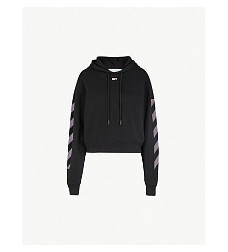 OFF-WHITE C/O VIRGIL ABLOH Strass-点缀棉帽衫 (黑 + 光
