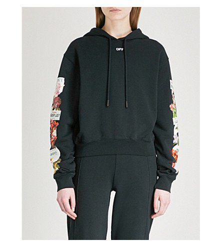 OFF-WHITE C/O VIRGIL ABLOH Flower Shop cotton-blend hoody (Black+multico
