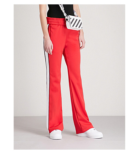 OFF-WHITE C/O VIRGIL ABLOH Contrast-tape jersey jogging bottoms (Red