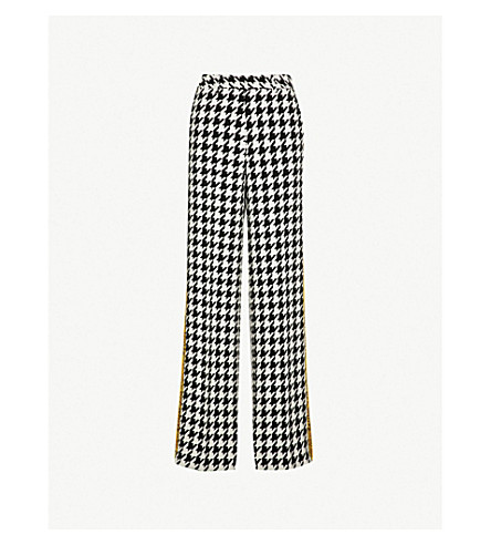 OFF-WHITE C/O VIRGIL ABLOH Houndstooth relaxed-fit virgin wool-blend trousers (All+over+yellow