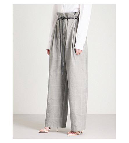 OFF-WHITE C/O VIRGIL ABLOH Checked high-rise wide cotton trousers (Grey