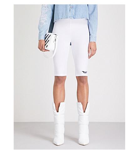 OFF-WHITE C/O VIRGIL ABLOH Logo-print stretch cycling shorts (White/black