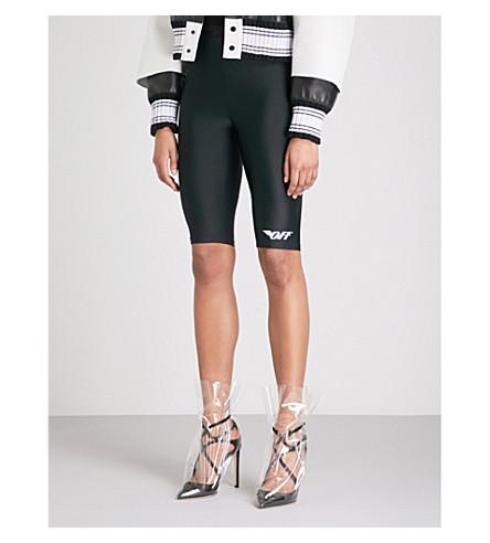 OFF-WHITE C/O VIRGIL ABLOH Logo-print stretch cycling shorts (Black/white