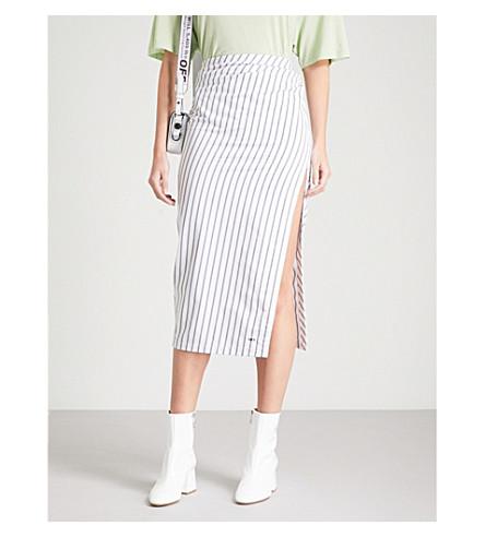 OFF-WHITE C/O VIRGIL ABLOH Striped side-split cotton midi skirt (All+over+black