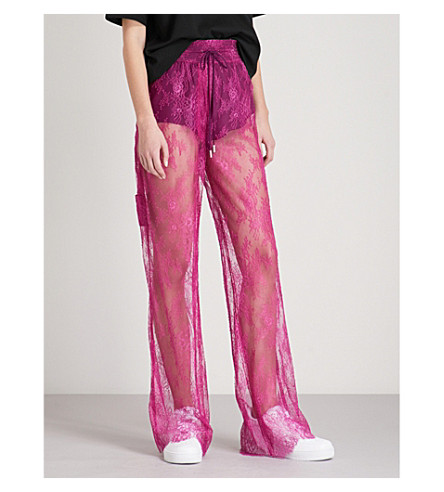 OFF-WHITE C/O VIRGIL ABLOH Floral wide-leg lace jogging bottoms (Fuchsia