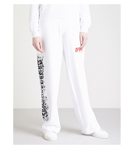 OFF-WHITE C/O VIRGIL ABLOH Woman high-rise cotton-blend jogging bottoms (Red/white