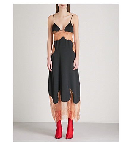 OFF-WHITE C/O VIRGIL ABLOH Sheer floral-lace and satin slip dress (Black+nude