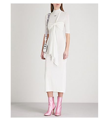 OFF-WHITE C/O VIRGIL ABLOH Draped-detail stretch-knit dress (White+black