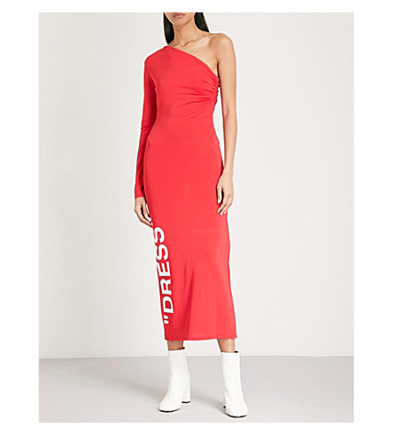 OFF-WHITE C/O VIRGIL ABLOH One-shoulder stretch-jersey dress (Red+white