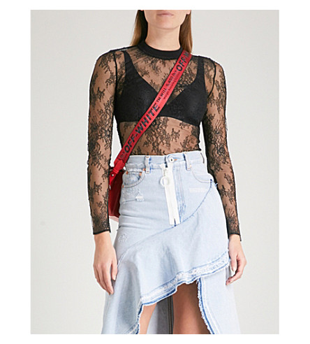 OFF-WHITE C/O VIRGIL ABLOH Semi-sheer floral-lace body (Black+all+over