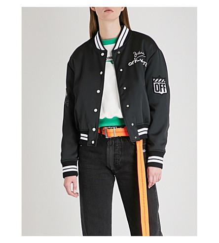 OFF-WHITE C/O VIRGIL ABLOH Embroidered satin bomber jacket (Black+white