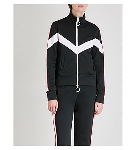 OFF-WHITE C/O VIRGIL ABLOH Contrast-tape jersey track jacket (Black+white