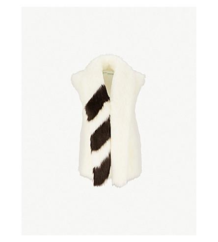 OFF-WHITE C/O VIRGIL ABLOH Striped faux-fur gilet (White