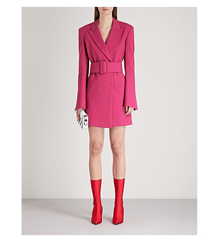 OFF-WHITE C/O VIRGIL ABLOH Tailored-fit crepe blazer dress (Fuchsia