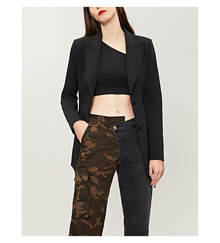 OFF-WHITE C/O VIRGIL ABLOH Floral-lined crepe jacket (Black