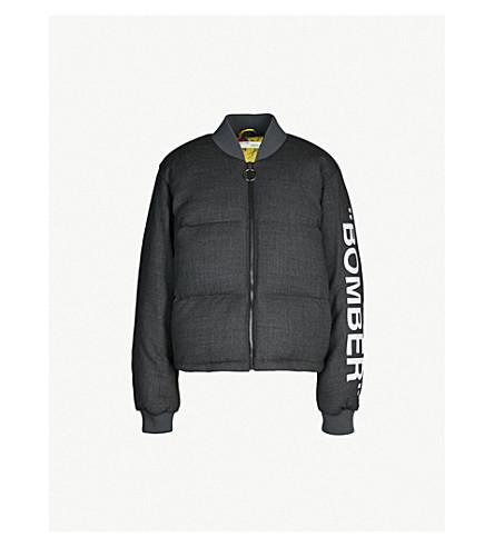 OFF-WHITE C/O VIRGIL ABLOH 文本打印羊毛混纺羽绒服飞行员夹克 (Med + 灰色