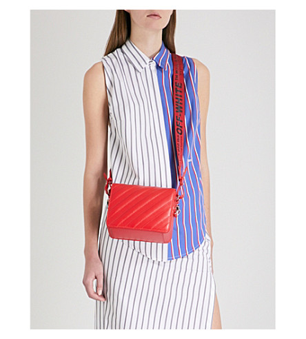 OFF-WHITE C/O VIRGIL ABLOH Contrast-panel striped cotton apron shirt (All+over+white