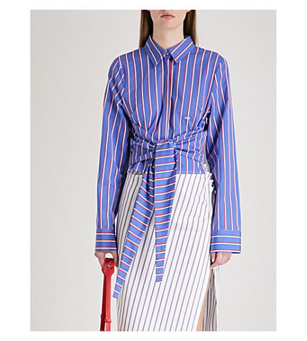 OFF-WHITE C/O VIRGIL ABLOH Striped cotton shirt (All+over+white