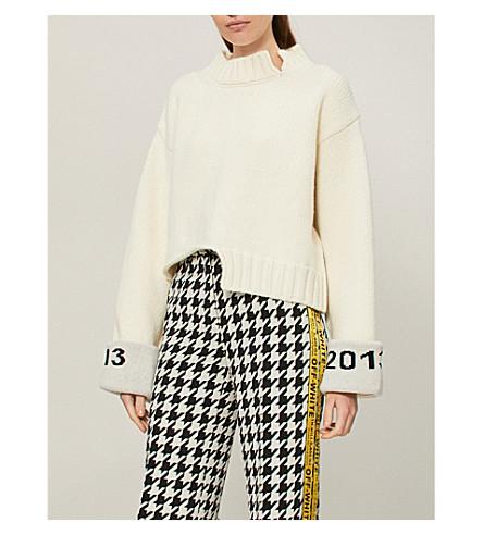 OFF-WHITE C/O VIRGIL ABLOH Logo-intarsia wool-blend jumper (White+black