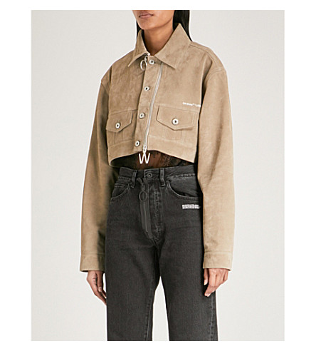 OFF-WHITE C/O VIRGIL ABLOH Cropped suede jacket (Beige+white