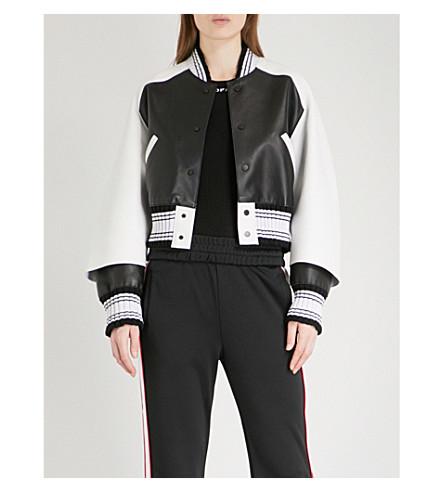 OFF-WHITE C/O VIRGIL ABLOH Two-tone leather bomber jacket (Black