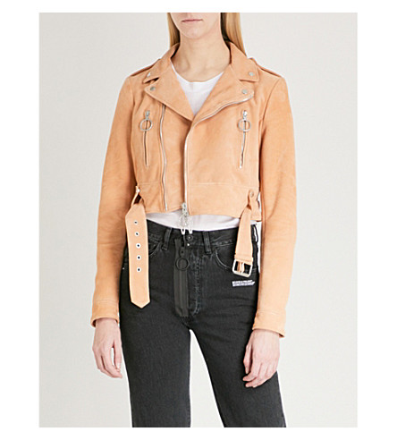 OFF-WHITE C/O VIRGIL ABLOH Cropped suede biker jacket (Nude+white