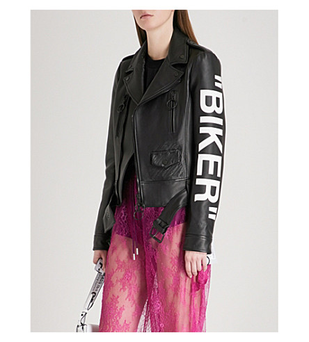 OFF-WHITE C/O VIRGIL ABLOH Biker leather jacket (Black+white