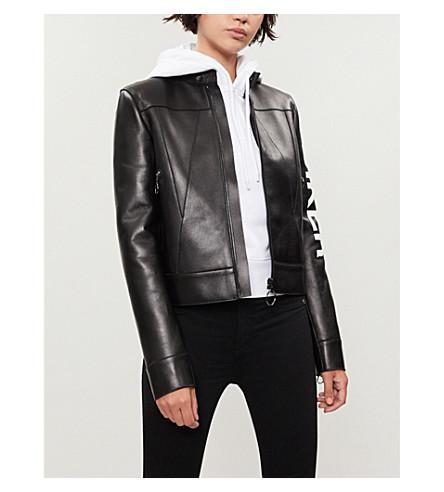 OFF-WHITE C/O VIRGIL ABLOH 打印皮革机车夹克 (黑色