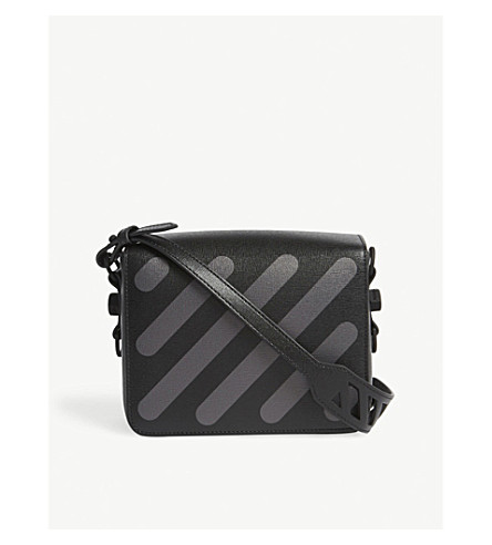 OFF-WHITE C/O VIRGIL ABLOH Diagonal-stripe Saffiano leather shoulder bag (Black