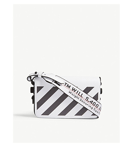 OFF-WHITE C/O VIRGIL ABLOH Diagonal-stripe leather cross-body bag (White+black