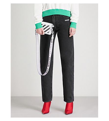 OFF-WHITE C/O VIRGIL ABLOH Logo-print straight-leg high-rise jeans (Vintage+black