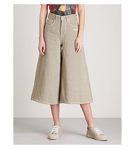 OFF-WHITE C/O VIRGIL ABLOH Juta wide-leg linen trousers (Beige+white