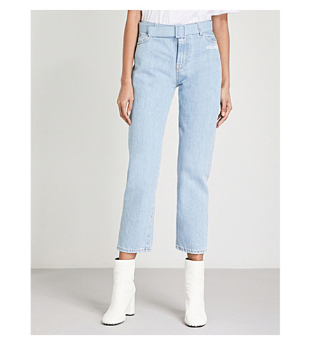 OFF-WHITE C/O VIRGIL ABLOH Belted straight high-rise jeans (Bleach white