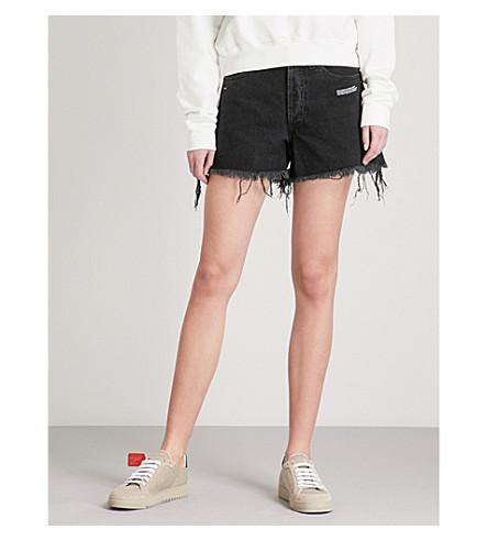 OFF-WHITE C/O VIRGIL ABLOH Distressed high-rise dneim shorts (Vintage+black