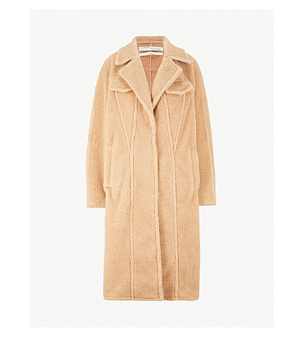 OFF-WHITE C/O VIRGIL ABLOH Textured faux-fur teddy coat (Camel white