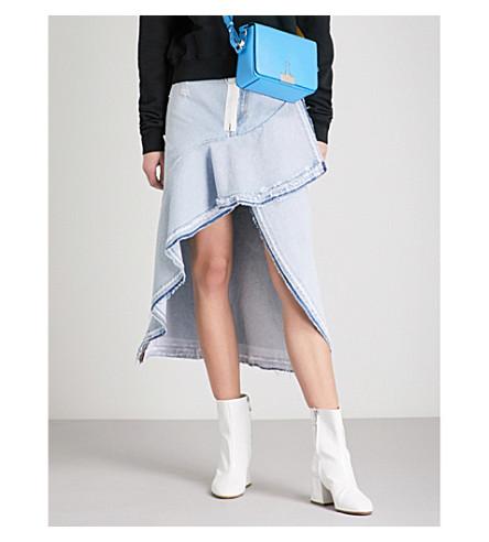 OFF-WHITE C/O VIRGIL ABLOH Asymmetric denim skirt (Bleach+white