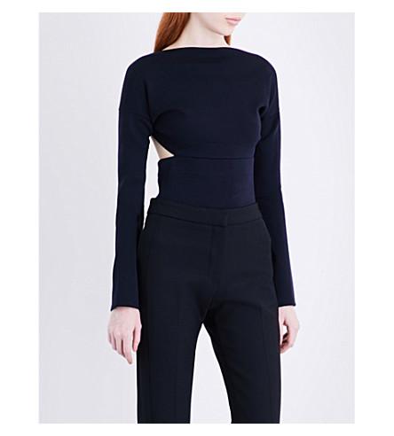 VICTORIA BECKHAM Backless wool-jersey body (Navy